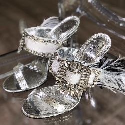 Crystal Buckle Strappy Sandal