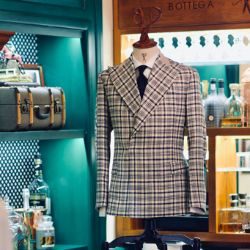Dalmut Bespoke Cashmere & Silk Windowpane Double Breasted Blazer