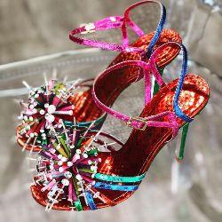 Jewelled Rainbow Pom Pom Sandal